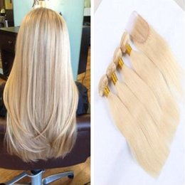 Brazilian Blonde Hair Bundles With Lace Closure straight hair 8A Grade #613 Color Peruvian Indian Malaysian Human Hair Weft