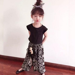 Wholesale New Best Children Fashion Outfits Short Sleeve Black Top Loose Pant Kids Girl Summer Clothing Sets Hot Selling Kids Sets P1188