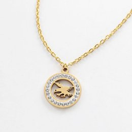 Bald Eagle Pendant Neckaces with Diamond Stainless Steel Studded Hawk Jewelry for Women and Men Charm Gift Wholesale