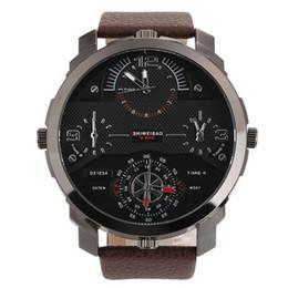 SHIWEIBAO A3612 Casual Quartz Watch Four Movt Golden Case Brown Black Brand Men