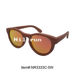 fashionable round UV400 polarized mirror orange lens wood sunglasses