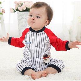Скидка красный восхождение 1 ПК Детская одежда Органический хлопок с длинным рукавом Baby комбинезон Красные и голубые полоски Baby Romper Альпинистская одежда ATLL0084