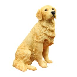 Wholesale Golden Retriever Dog Figurine Hands carved resin dog statue decoration ornaments for home table and garden decoration