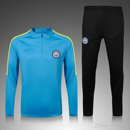Wholesale N2016 Men MancHESTER Tracksuit Uniform Jogging Survetement Wear City Sweater Suit Blue Sport training Kits