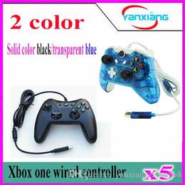 Xbox dual en venta-El regulador negro del juego 5pcs para Microsoft Xbox One ató con alambre la palanca de mando dual Joystick Gamepad de la vibración para Xbox Uno YX-one-02