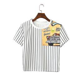 Descuento coche de camisetas al por mayor Venta al por mayor QI97 Corea Moda 2016 Verano Vintage Blanco Striped Car Impresión Camiseta para las mujeres de manga corta Casual Tops de la cosecha