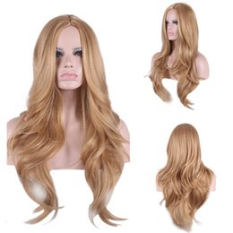 Wholesale Long Body Wave Light Brown Cheveux synthétiques Perruques Fashion Medium Side Bang avec Free Hair Net