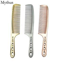Pelo largo corte de pelo en Línea-Espacio de aluminio de superficie lisa peinado de peluquería, peine de corte de pelo duradero con mango largo, hecho a mano peinado de corte de pelo para los hombres