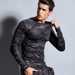 Descuento capas base Hombres Compression Under Base Layer Camisetas Athletic Manga Larga Deportes Body Armor Hombre Fitness Gimnasio Ropa A111538