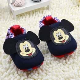 2017 new style Spring and autumn soft bottom slip away shoes Mickey Mouse pure cotton Baby boy and girl prewalker Shoes free shipping.