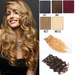 Women'Fashion Clip In Curly Hair Extensions 7pcs set 16clips Machine Double Weft Clip In On Human Hair Extensions #1 #4 #613 Color Dyeable