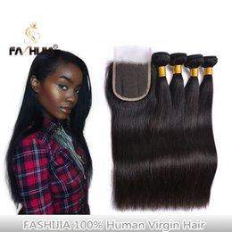 Compra Online Teñidos haces de pelo de malasia-Cierre de 4 * 4 con el pelo virginal brasileño de los manojos humanos La mejor calidad el pelo recto brasileño brasileño mongol de Malasia negro (1B) se puede teñir