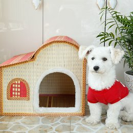Wholesale Do You Treasure New Product Bamboo Weaving Kennel The Cat Cage Summer Bamboo Weaving Pets Nest House Villa Pets Articles