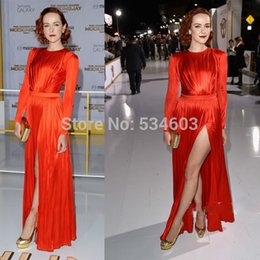 Wholesale Orange Jena Malone Celebrity Evening Dresses Elegant High Slit Pleat Women Fashion Long Sleeves Party Dress Prom Gown Cheap