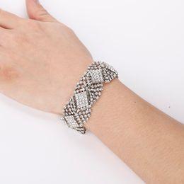The bride jewelry Rhinestone Silver Plated Crystal Bracelets For Women Rhinestone Cuff Bracelets Bangles Wedding Jewelry
