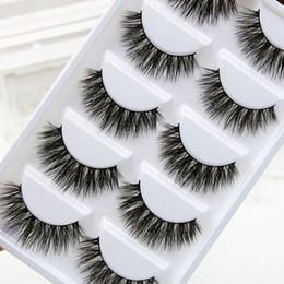 Cils de scène à vendre-2017 Nouveau 1 boîte 5 paires faits à la main en coton Stalk eau Vison faux cils Croix Messy dense naturelles Eye Lashes Maquillage d'étape faux cils