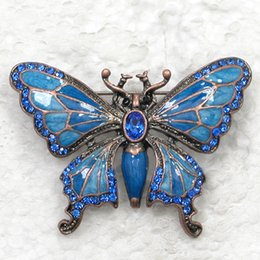 12pcs lot Wholesale CRYSTAL RHINESTONE ENAMELING BROOCHES BUTTERFLY FASHION COSTUME PIN BROOCH JEWELRY GIFT C183