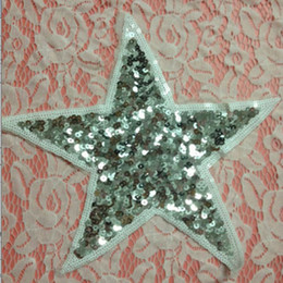 Wholesale 20pcs Star Jeans Jacket Patches parches bordados Sequins Patch For Clothing Glitter Embroidered Patchwork Apparel Fabric Art Badge Appliques