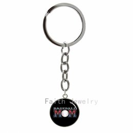Wholesale Trendy Colored Monogram Baseball keychain casual sport style key chain personalized baseball fans jewelry Father s Day Gift