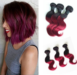 Human Hair Weave 10inch Hair Ombre Colored Two Tone Hair Weave 1B Burgundy Wave Style in Different Ways