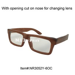 rectangle solid wood reading glasses frame with opening cut