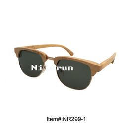 brand natural bamboo metal sunglasses