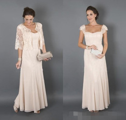 2017 Sexy Mother of the Bride Dresses With Jackets Short Sleeves Lace Chiffon Plus Size Groom Suits Evening Party Dress Wedding Guest Gowns
