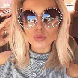 2017 Fashion Sexy Cat Eye Sunglasses Women Coating Reflective Mirror Diamond Decoration Glasses Female Shades UV400 WL1016