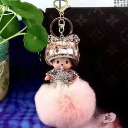 Monchhichi Cutey Car Fluffy Pompom Keychain Pendant With Real Rex Rabbit Fur Ball Hand Made Diamond Lovely Decorations Bag Hang Trinkets
