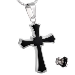 IJD8023 Cross Stainless Steel Cremation Jewelry Pendant Necklace Memorial Ashes Keepsake Urn Funeral Casket Necklace