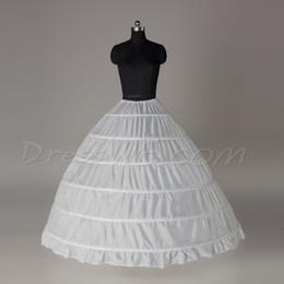 Cheap White Fuchsia Ball Gown 6 Hoops Petticoat Wedding Slip Crinoline Bridal Underskirt Layes Slip 6 Hoop For Quinceanera Ball Gowns