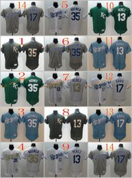Wholesale 2017 Flexbase Stitched KC Kansas City Royals Perez Eric Hosmer Davis White Gold Light Blue Gray Green MLB Jersey Mix Order