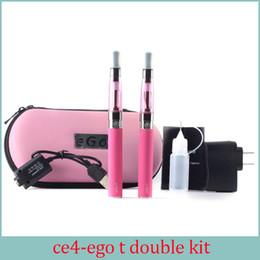 Ego kit E-cigarette EGO-CE4 atomiseur à mèche longue EGO double kit 2 batterie 2 atomiseurs e cigarettes électroniques avec coffre cadeau ego à partir de e cadeaux fournisseurs