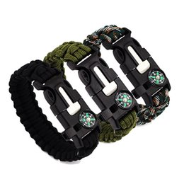 2017 Outdoor Survival Bracelets 5 in 1 Gear Kits Escape Paracord Bracelet Flint Whistle Compass Scraper for Hiking Camping Fast Shipping