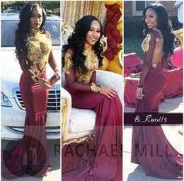 2017 Burgundy Mermaid Prom Dresses High Neck Sexy Hollow Out Backless Long Sleeves Gold Appliques Vintage Evening Dresses New South African