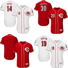 Wholesale Men s Johnny Bench Pete Rose Joey Votto Ken Griffey Jr Stitched Logos Jersey Flexbase White Red