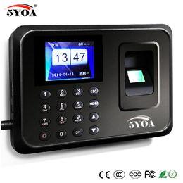 Promotion machine d'horloge d'empreintes digitales Vente en gros - Système biométrique de fréquentation du temps Enregistreur numérique d'horloge USB Machine de contrôle des employés Electronique Voix portugaise Anglais