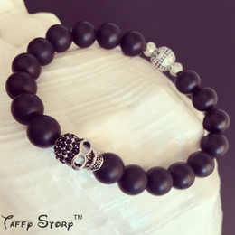 New Handmade DIY Bracelet for Men Gifts S925 Punk style black crystal Skull and cross bead with Obsidian Natural Stone ONYX Real Shoot