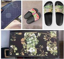 Wholesale Fashion slide sandals slippers for men and women WITH BOX Hot Designer flower printed unisex beach flip flops slipper BEST QUALITY