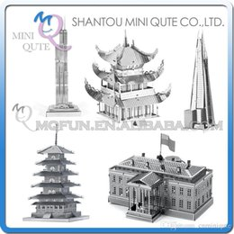 Wholesale DHL Piece Fun D World architecture White House Willis Tower Pagoda Yueyang Tower Metal Puzzle adult models educational toy