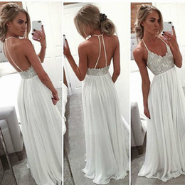 Prom Dresses 2017 Long Chiffon Boho Halter Sexy Back Formal Evening Gown Graduation Party Dress Vestidos