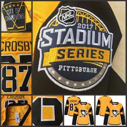 Promotion série de hockey 2017 Stadium Series Premier Jersey Pittsburgh Penguins Hockey Jerseys Femme 87 Sidney Crosby Hockey High Stitched Jersey Livraison gratuite
