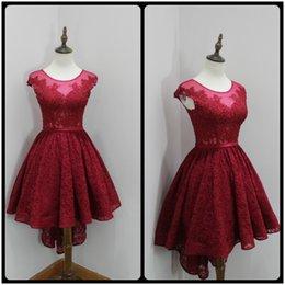 2017 robe formelle bas dos rouge Attractive Scoop Neck Lace Bourgogne Robes de bal 2017 High Back Low Front Applique Robe de bal Robes de soirée rouge en soirée formelle robe formelle bas dos rouge sur la vente