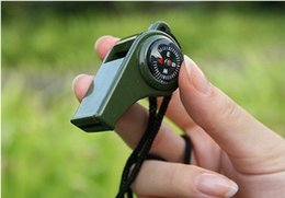 Wholesale New style outdoor survival whistle the compass thermometer multi function whistle Plastic outdoor multifunctional tool compass thermometer