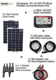 Solarparts 2x75W DIY RV / лодки наборы Солнечная система гибкой панели солнечных батарей 1x 10A солнечный регулятор 1 комплект 3M MC4 кабель 1 комплект зажим от Производители р.в. комплекты солнечных панелей