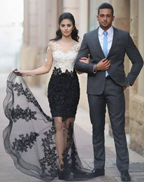 Saudi Arabic Dubai Lebanon Said Mhumad Lace Prom Dresses Sheer Appliques Mermaid Long-Sleeves White Black Evening Party Gowns BA6242