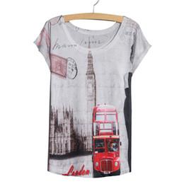 Acheter en ligne Dame ville-Vente en gros-Nouvelle Arrivée Eté Style Mode Femmes T-shirts à manches courtes Graphic Tees Femmes London City Imprimé Femmes Blanc Tops Taille Plus