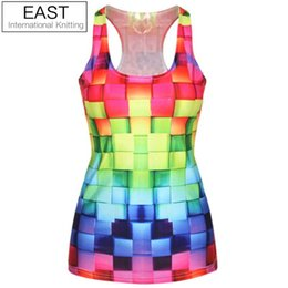 Wholesale Colorful Knitted Vest - Wholesale-EAST KNITTING F52 2015 New Brand Fashion Womens T-shirt 3D Colorful Vest Top Printed Camisole Girls Tank Tops Drop Shipping