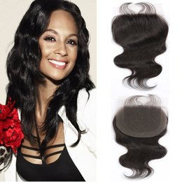 Factory Price Virgin Human Hair Weave Closures Body Wave Natural Black 4x4 Lace Closures Three Middle Free Part 8-20 Inches Large Stock