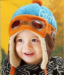 Wholesale Baby Kids New Earmuffs Pilot Cap Hot Warm Toddler Children Aviator Earflap Hat for Winter Red Blue Pink Coffee Color